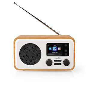 "Internetradio Tafelmodel   Bluetooth® / Wi-Fi   DAB+ / FM / Internet   2.4 ""   Kleurenscherm   7 W   Afstandbestuurbaar   App-gestuurd   Wekker   Hout / Wit"