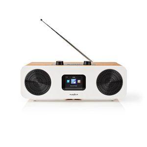 "Internetradio Tafelmodel   Bluetooth® / Wi-Fi   DAB+ / FM / Internet   2.4 ""   Kleurenscherm   34 W   Afstandbestuurbaar   App-gestuurd   Wekker   Hout / Wit   Weerberichten"