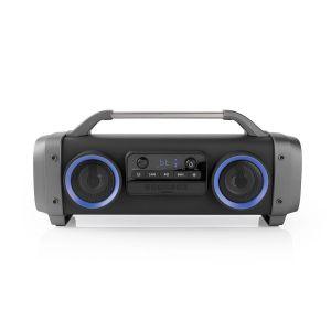 Party Boombox Tot 12 Uur | 2.2 | 60 W | Media afspeelmogelijkheden: AUX / Micro-SD / Radio / USB | IPX4 | Koppelbaar | Handgreep | Feestverlichting | Zwart/Grijs
