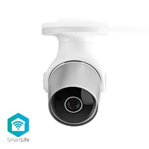 SmartLife Camera voor Buiten | Wi-Fi | Full HD 1080p | IP65 | Cloud / MicroSD | 12 VDC | Nachtzicht | Android™ & iOS | Wit/Zilver