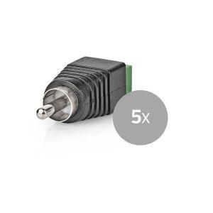 CCTV-Beveiligingsconnector | 5x | 2-Aderig naar RCA Male