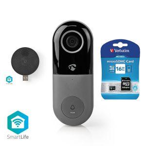 Wi-Fi Smart Videodeurbel met draadloze gong en 16 gb geheugen kaart | Bediening via App | microSD-Sleuf | HD 720p